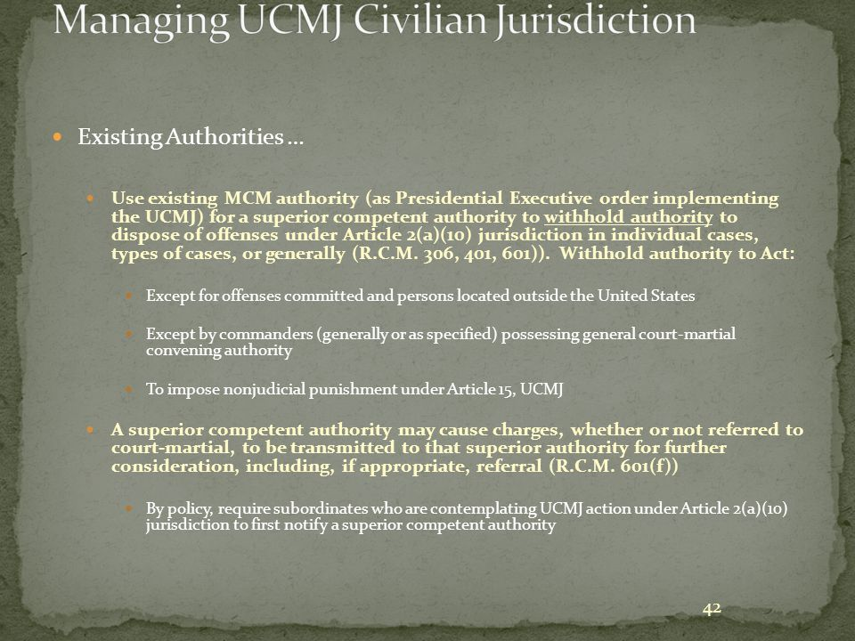 Managing UCMJ Civilian Jurisdiction