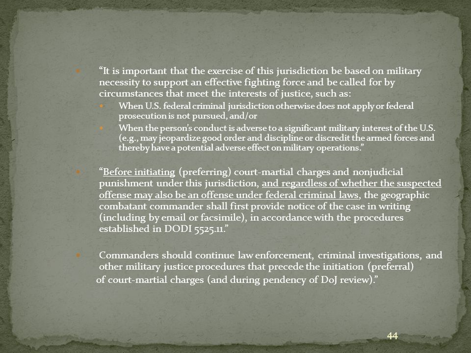 Managing UCMJ Civilian Jurisdiction (SecDef Memorandum Guidance of March 2008)