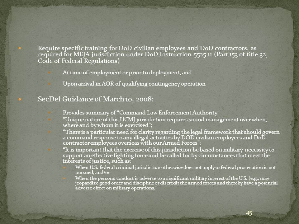 Managing UCMJ Civilian Jurisdiction (SecDef Memorandum Guidance of March 10, 2008)