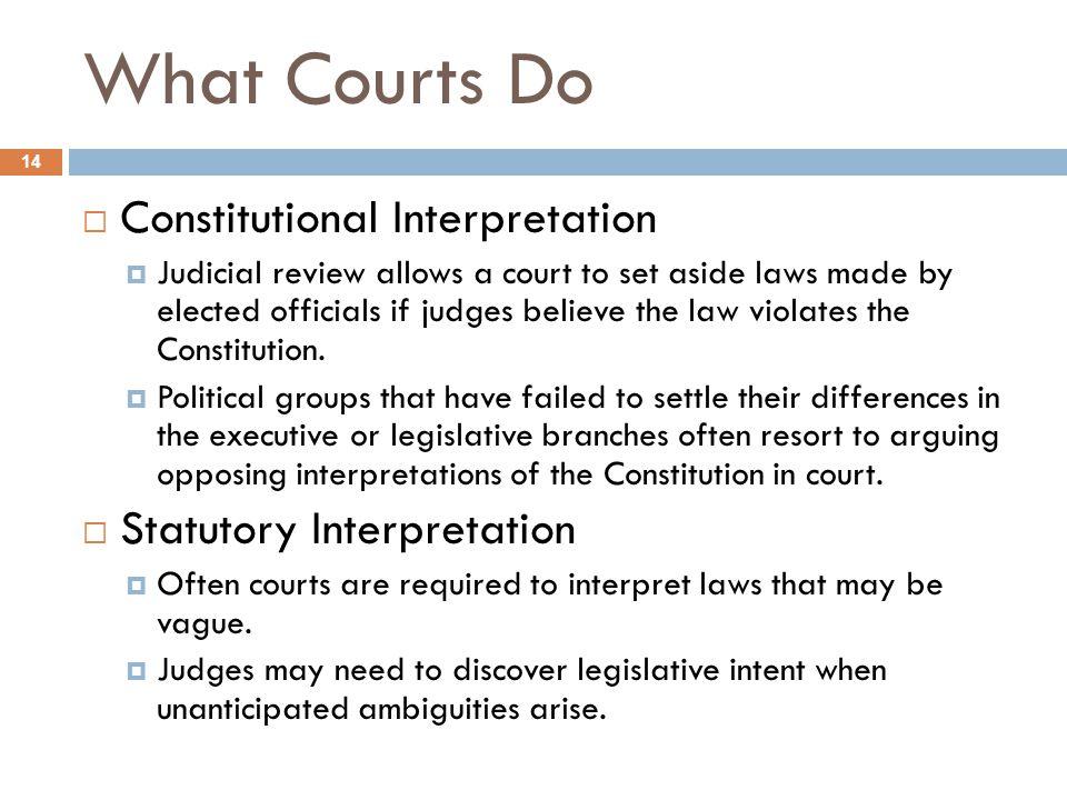 What Courts Do Constitutional Interpretation Statutory Interpretation