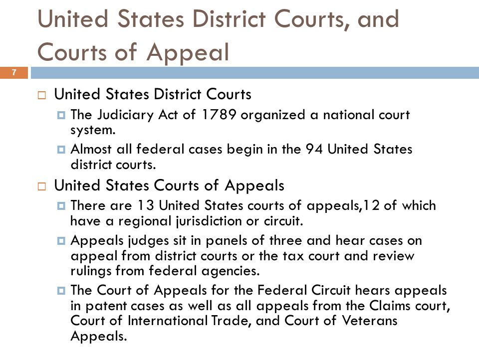 United States District Courts, and Courts of Appeal