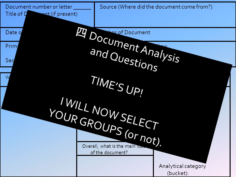 四 Document Analysis and Questions TIME'S UP! I WILL NOW SELECT