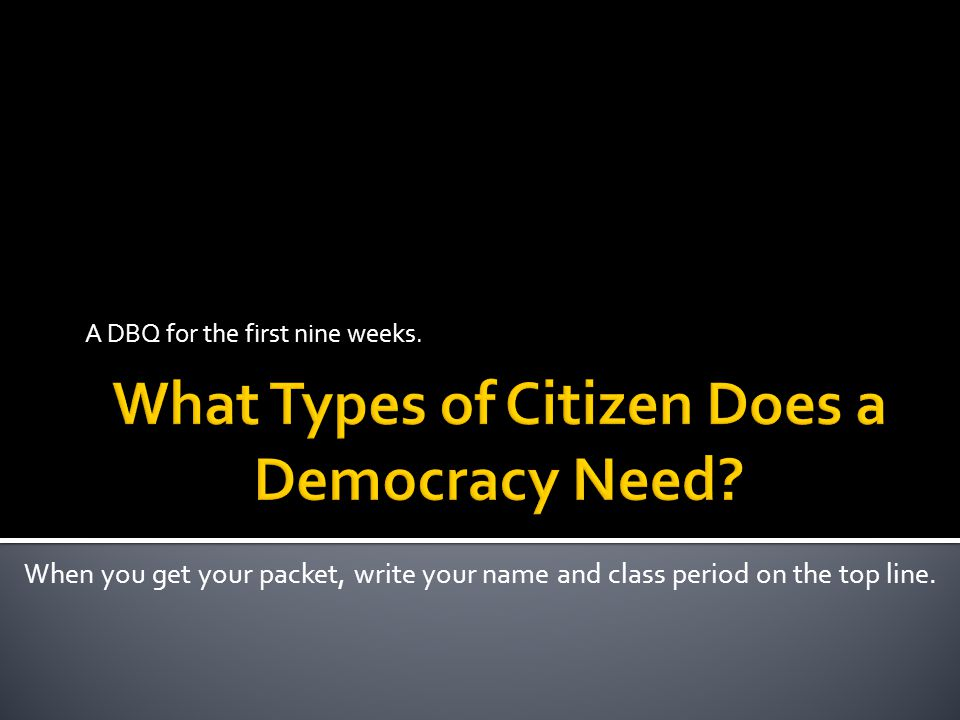 What Types of Citizen Does a Democracy Need