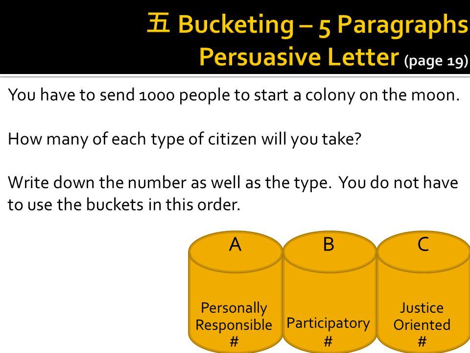 五 Bucketing – 5 Paragraphs Persuasive Letter (page 19)