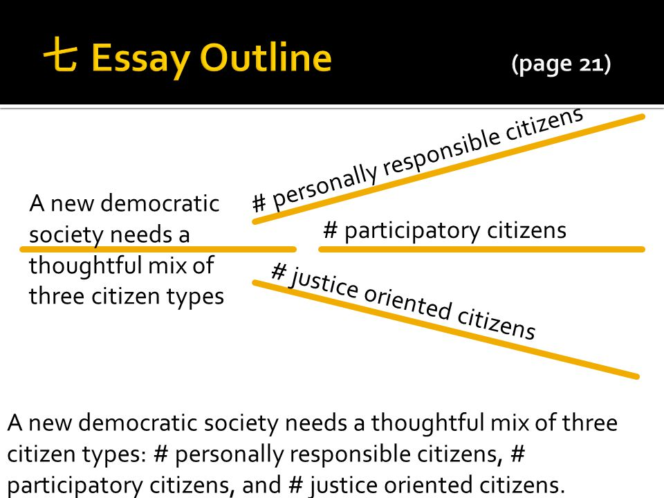 七 Essay Outline (page 21) # personally responsible citizens