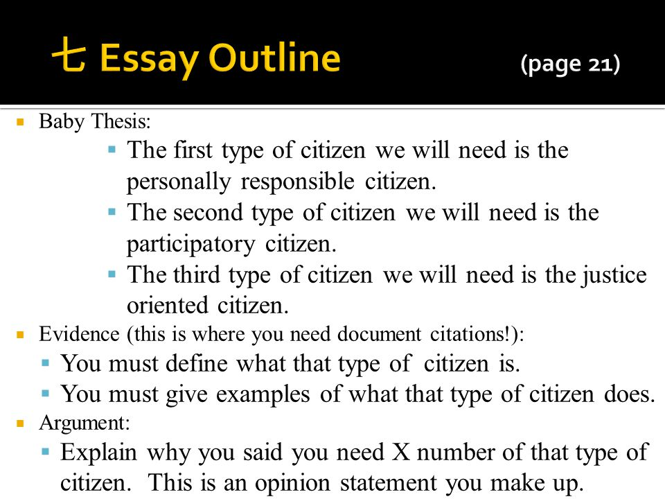 七 Essay Outline (page 21) Baby Thesis: The first type of citizen we will need is the personally responsible citizen.