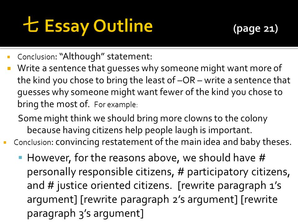 七 Essay Outline (page 21) Conclusion: Although statement: