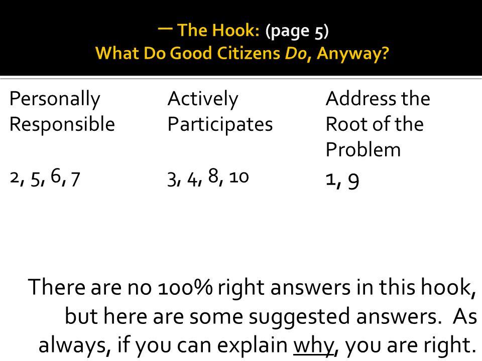 一 The Hook: (page 5) What Do Good Citizens Do, Anyway