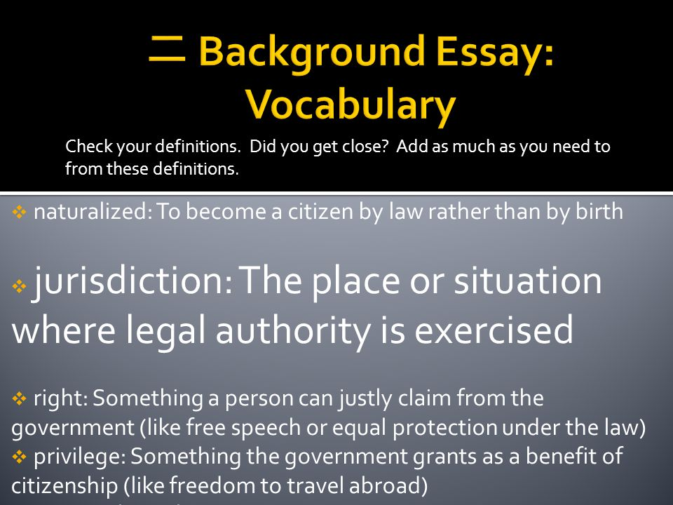二 Background Essay: Vocabulary