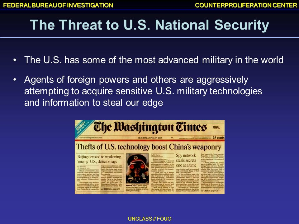 The Threat to U.S. National Security