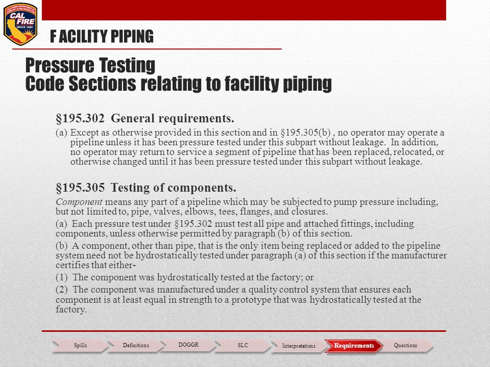 Pressure Testing Code Sections relating to facility piping