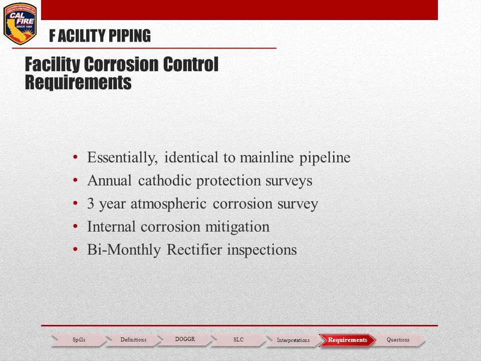 Facility Corrosion Control Requirements
