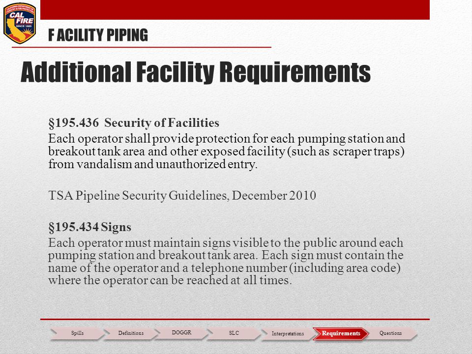 Additional Facility Requirements
