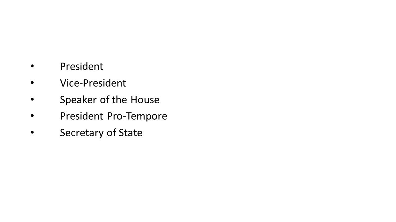 President Vice-President Speaker of the House President Pro-Tempore Secretary of State