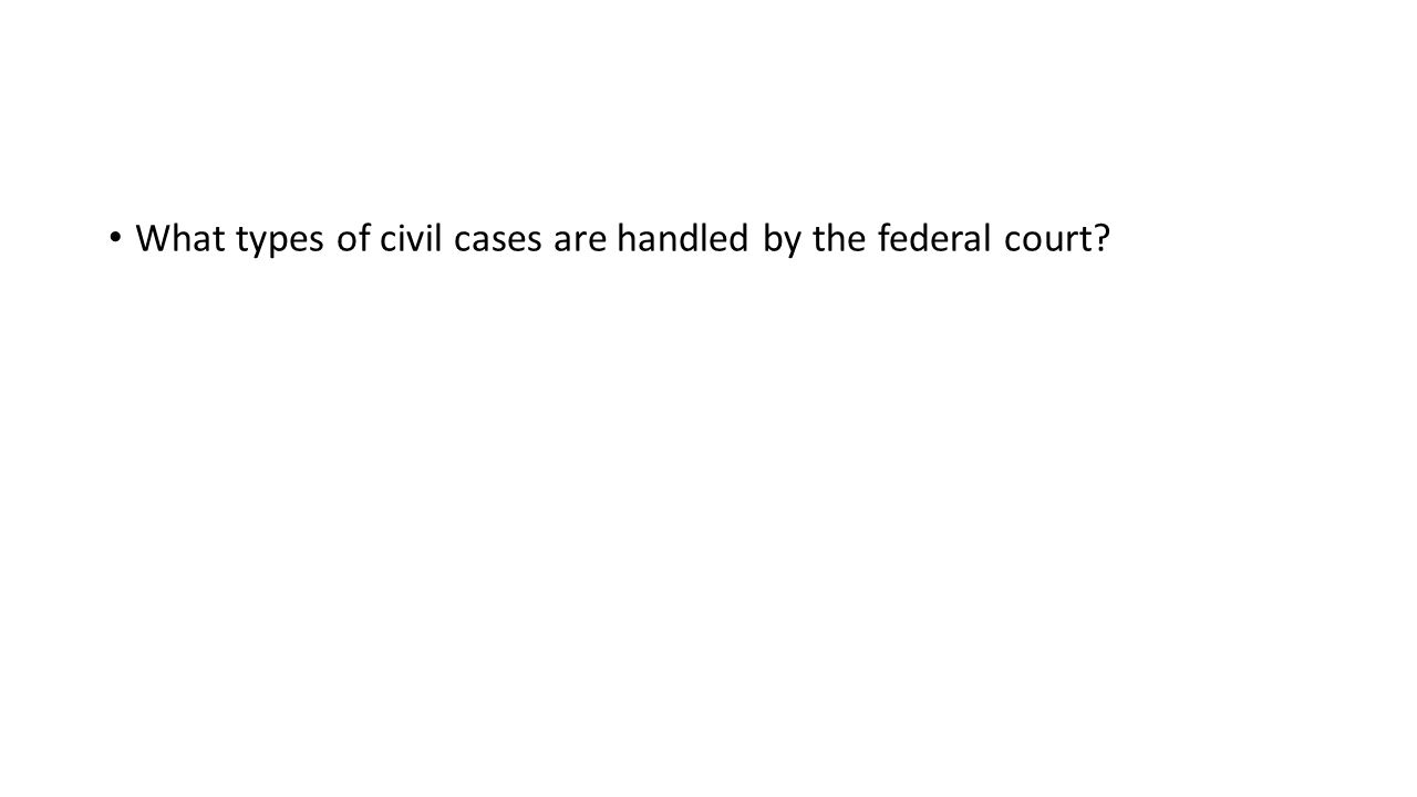 What types of civil cases are handled by the federal court