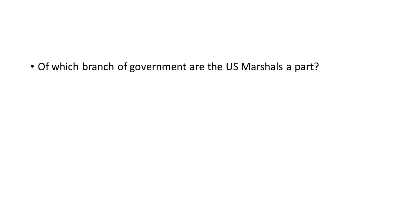 Of which branch of government are the US Marshals a part