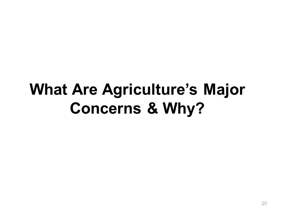 What Are Agriculture's Major Concerns & Why