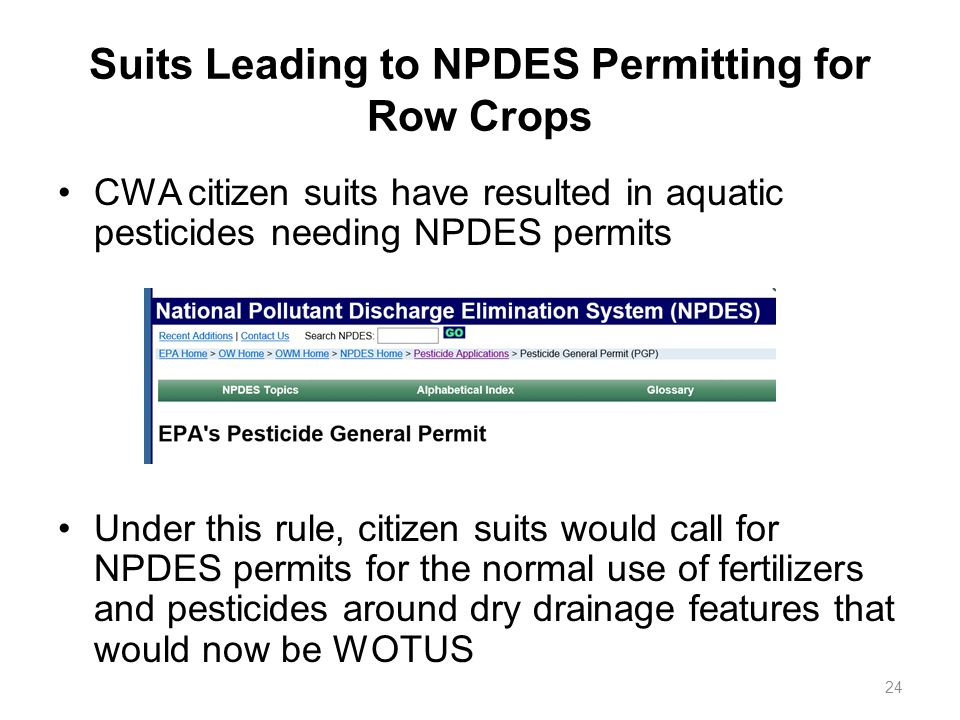 Suits Leading to NPDES Permitting for Row Crops