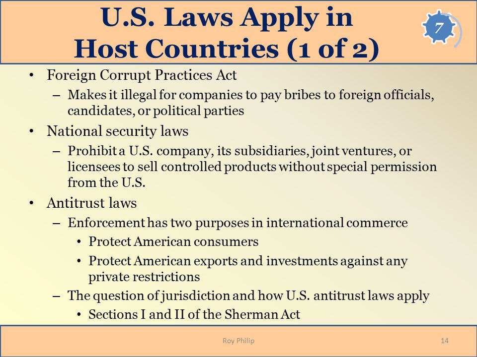 U.S. Laws Apply in Host Countries (1 of 2)