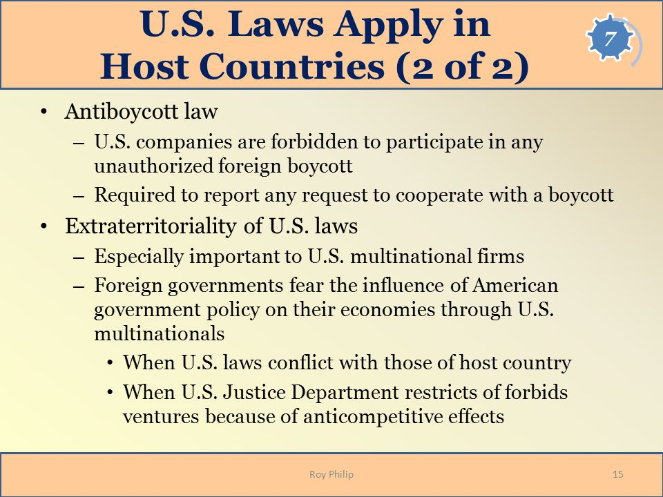 U.S. Laws Apply in Host Countries (2 of 2)