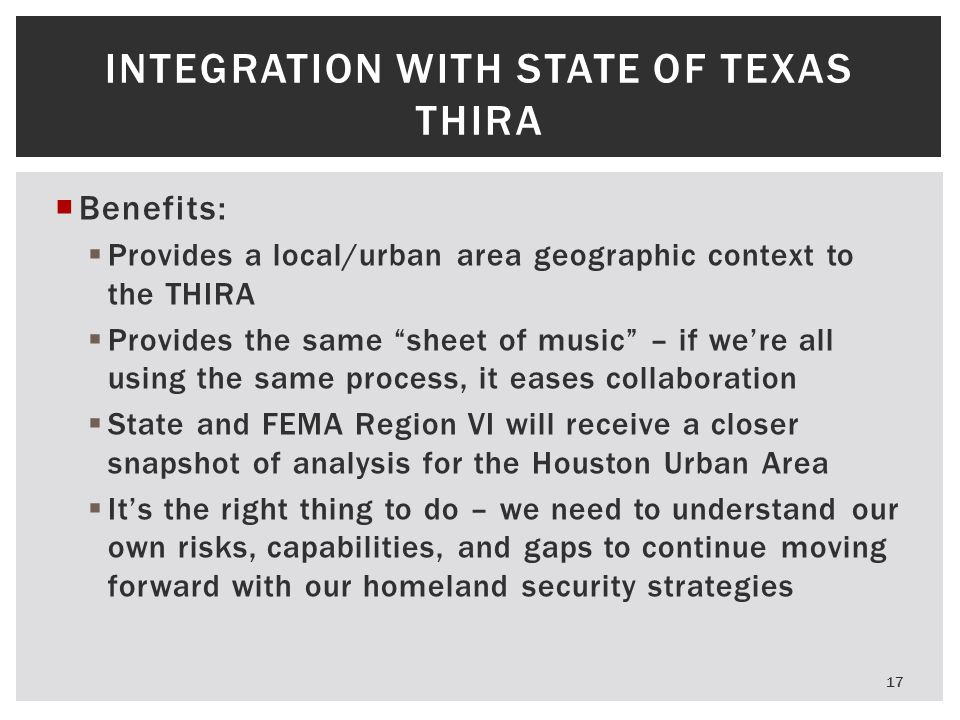 Integration with State of Texas THIRA