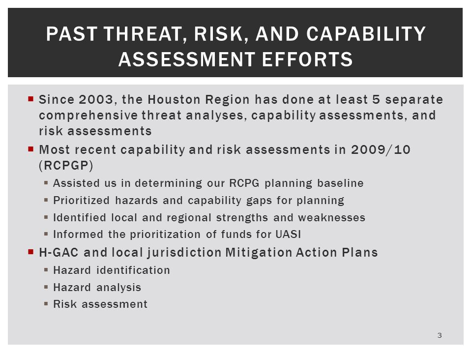 Past Threat, Risk, and Capability Assessment Efforts