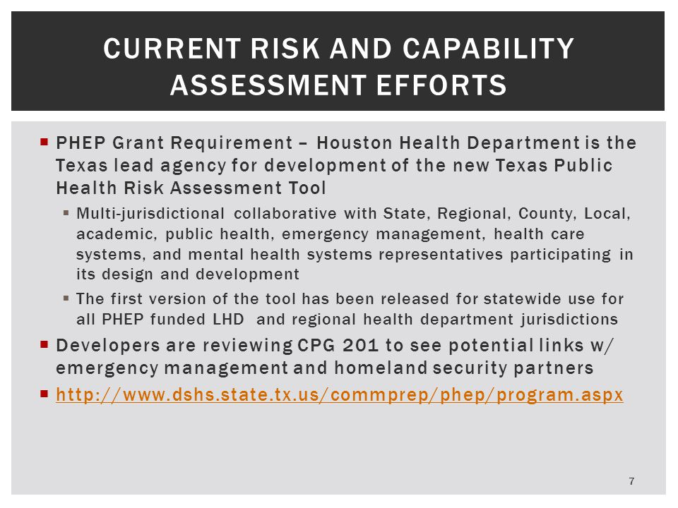 CURRENT Risk and Capability Assessment Efforts