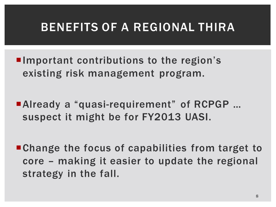 Benefits of a Regional THIRA