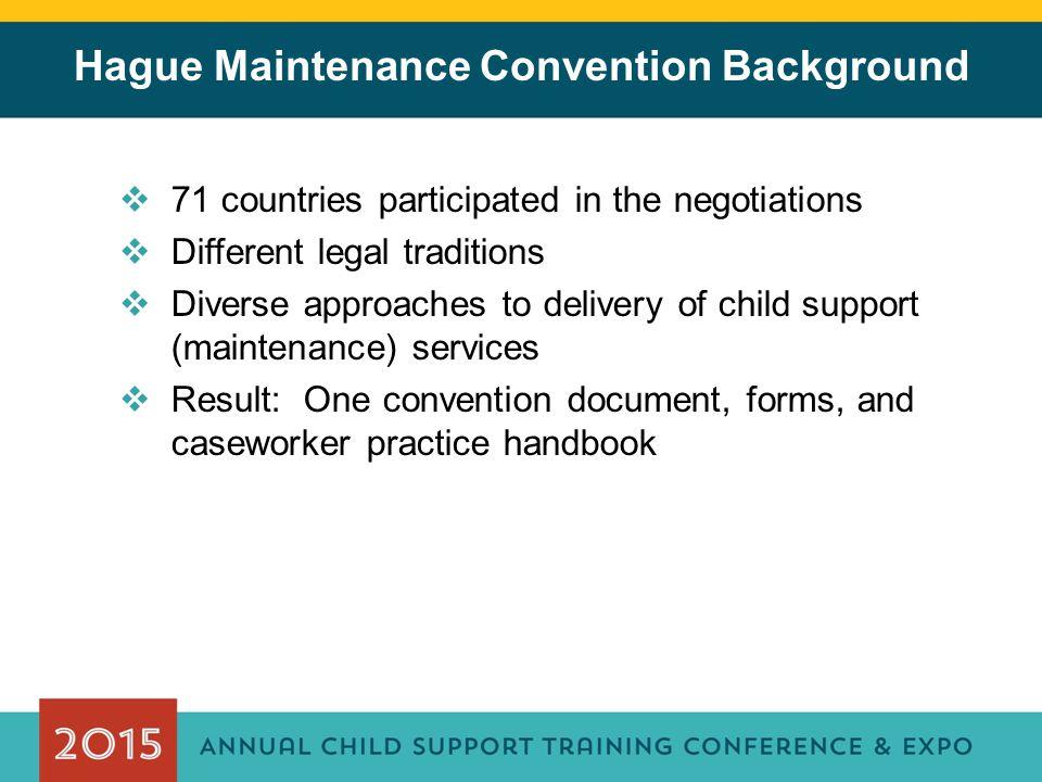 Hague Maintenance Convention Background