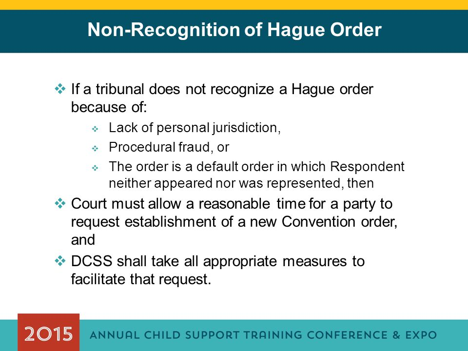 Non-Recognition of Hague Order