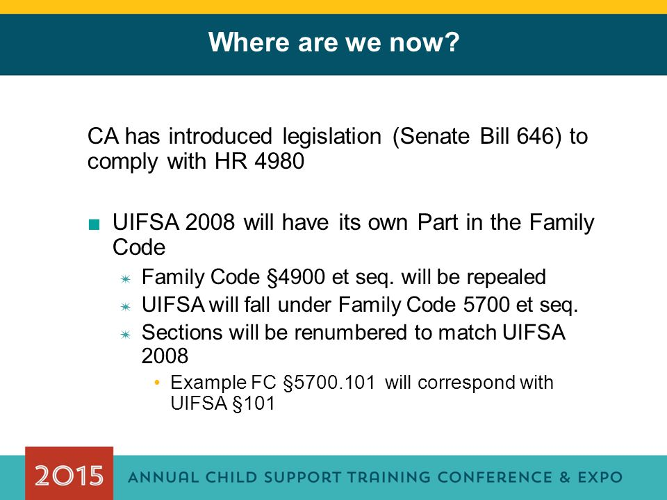 Where are we now CA has introduced legislation (Senate Bill 646) to comply with HR 4980. UIFSA 2008 will have its own Part in the Family Code.
