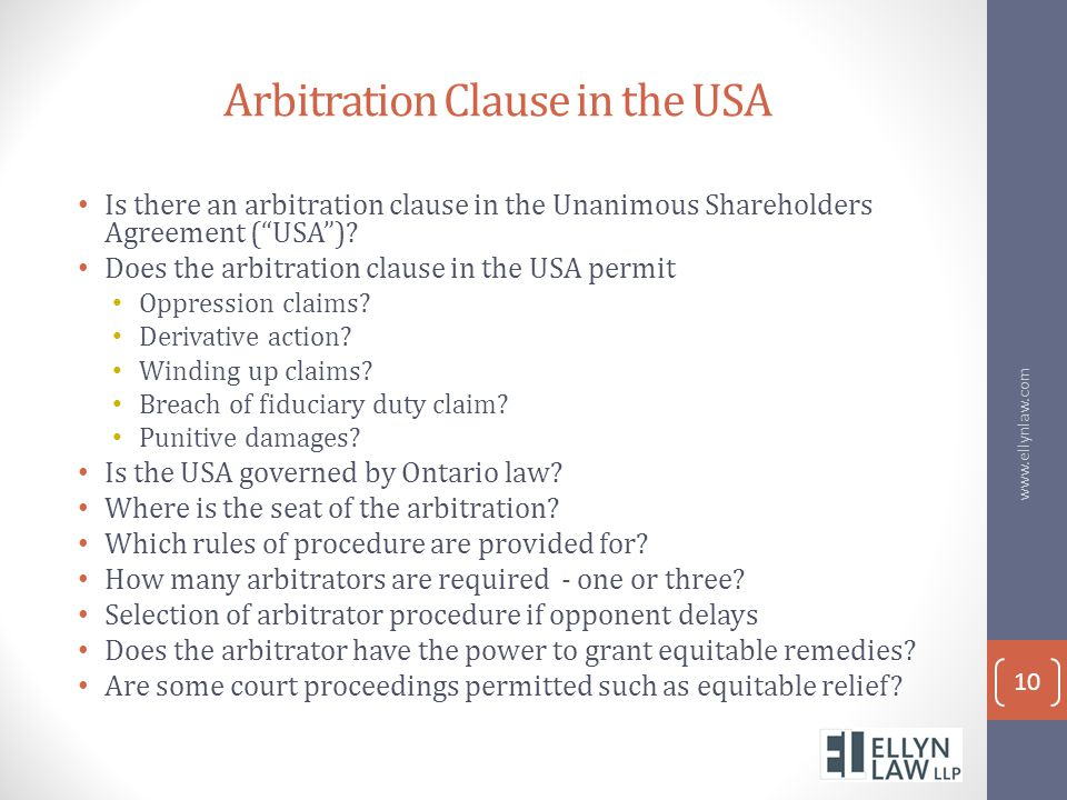 Arbitration Clause in the USA