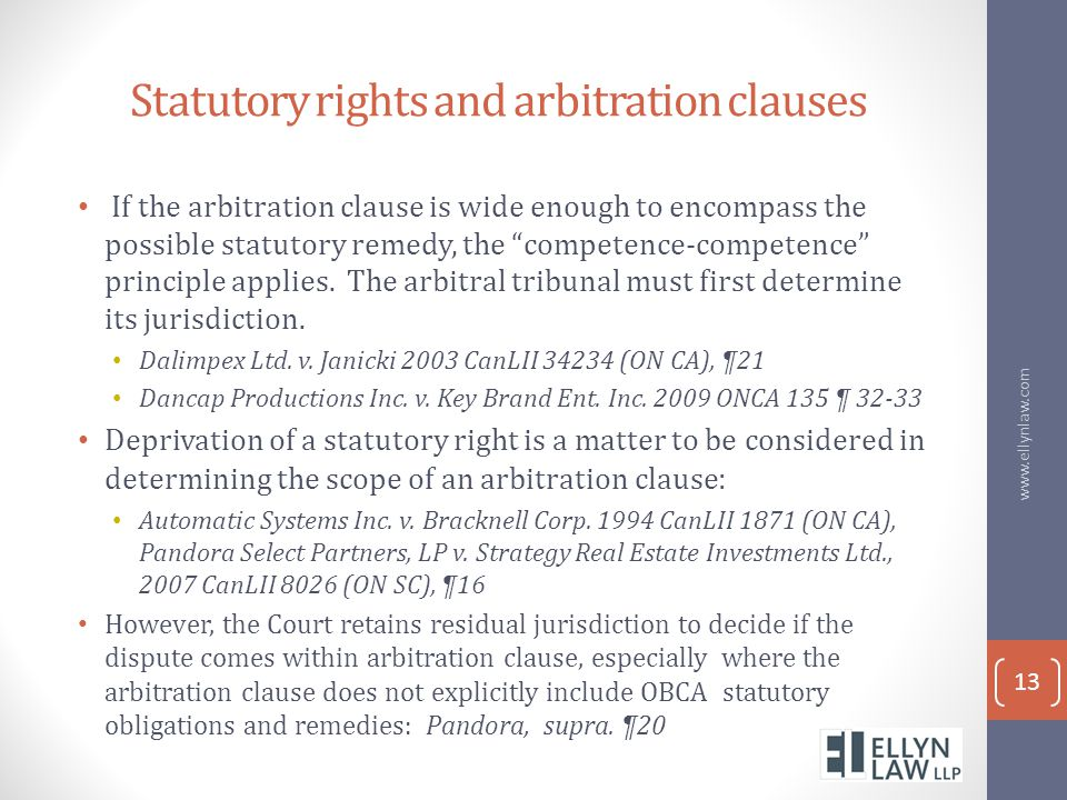 Statutory rights and arbitration clauses
