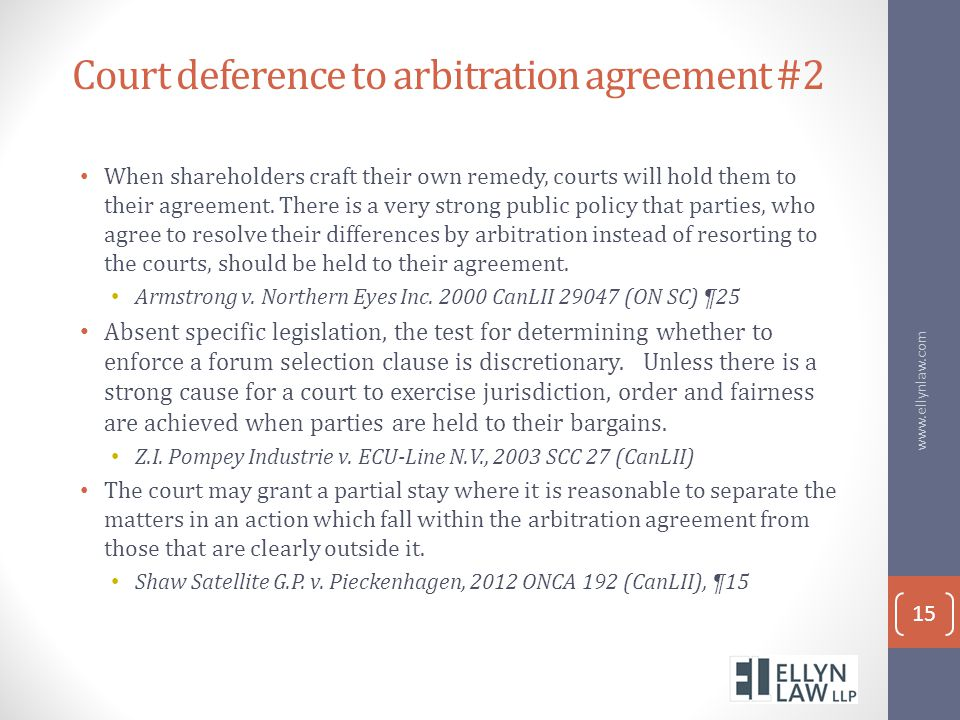 Court deference to arbitration agreement #2