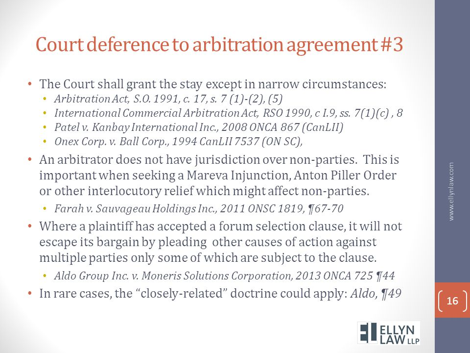 Court deference to arbitration agreement #3