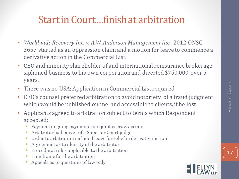 Start in Court…finish at arbitration