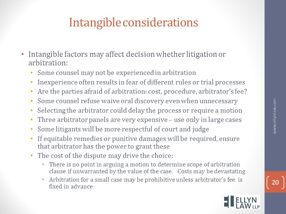 Intangible considerations