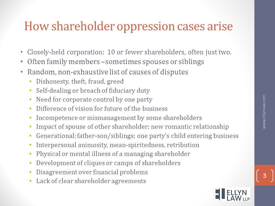 How shareholder oppression cases arise