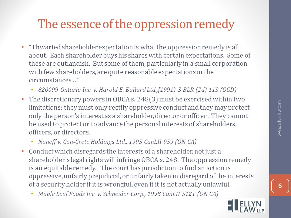 The essence of the oppression remedy