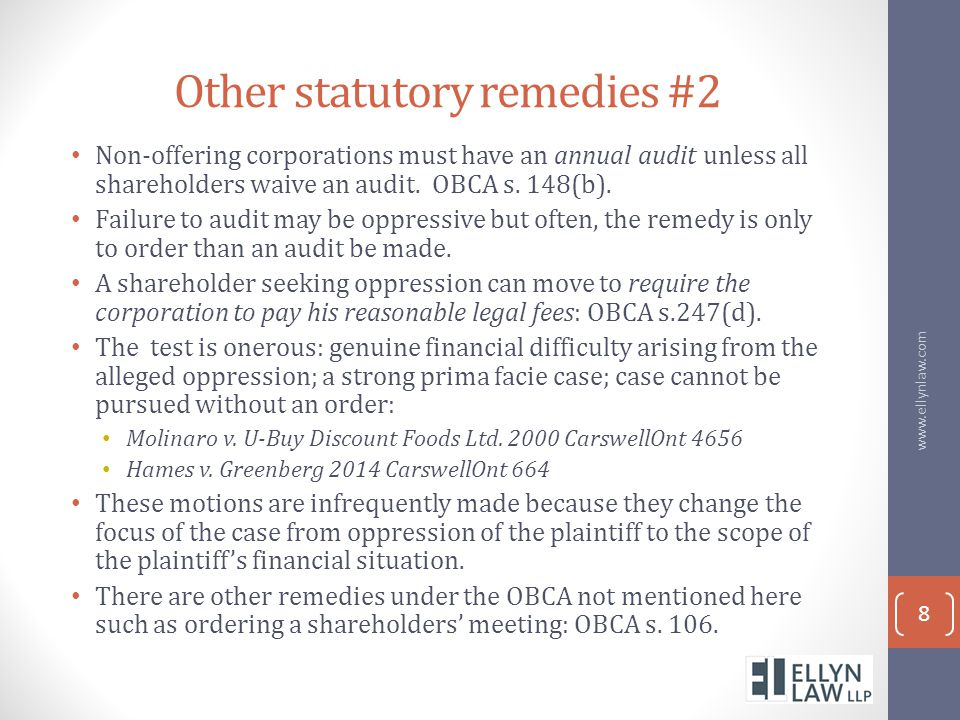 Other statutory remedies #2