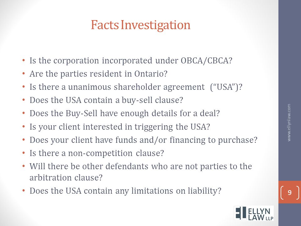Facts Investigation Is the corporation incorporated under OBCA/CBCA