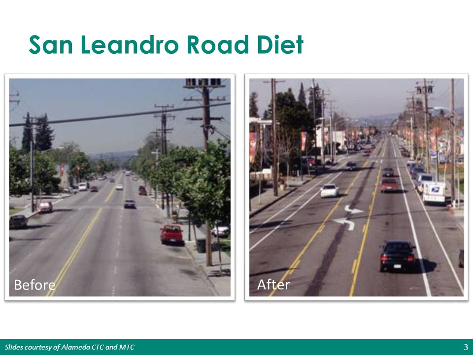 San Leandro Road Diet Before After