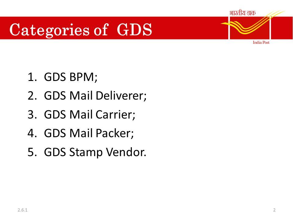 Categories of GDS GDS BPM; GDS Mail Deliverer; GDS Mail Carrier;