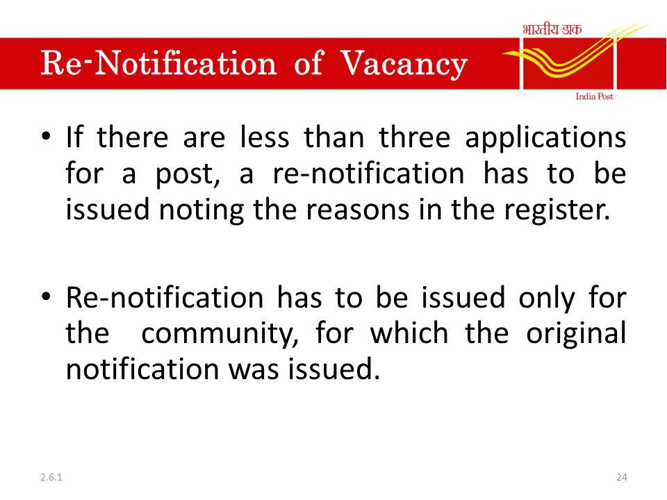 Re-Notification of Vacancy