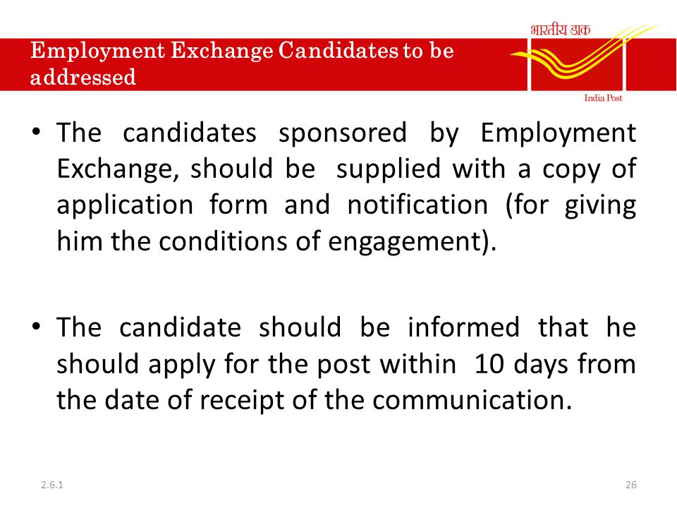 Employment Exchange Candidates to be addressed