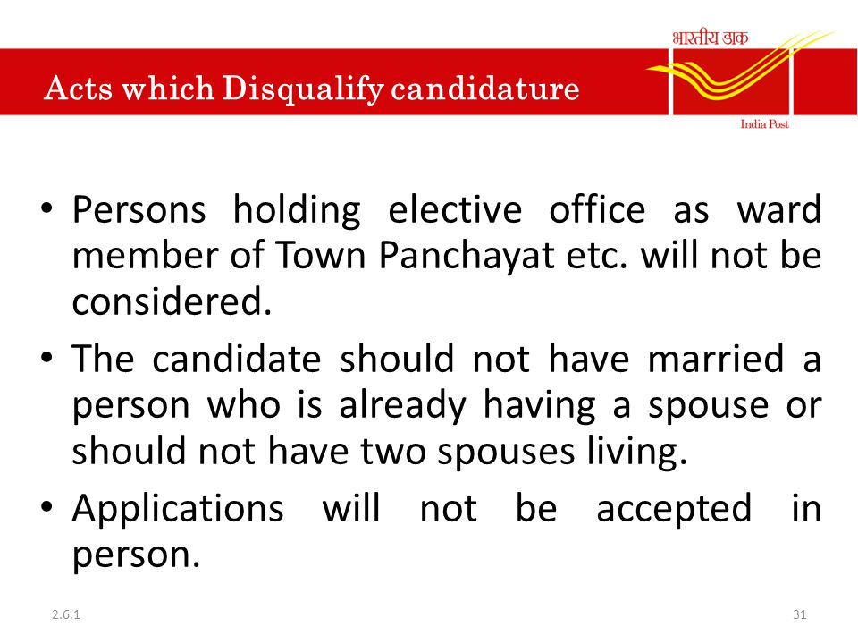 Acts which Disqualify candidature