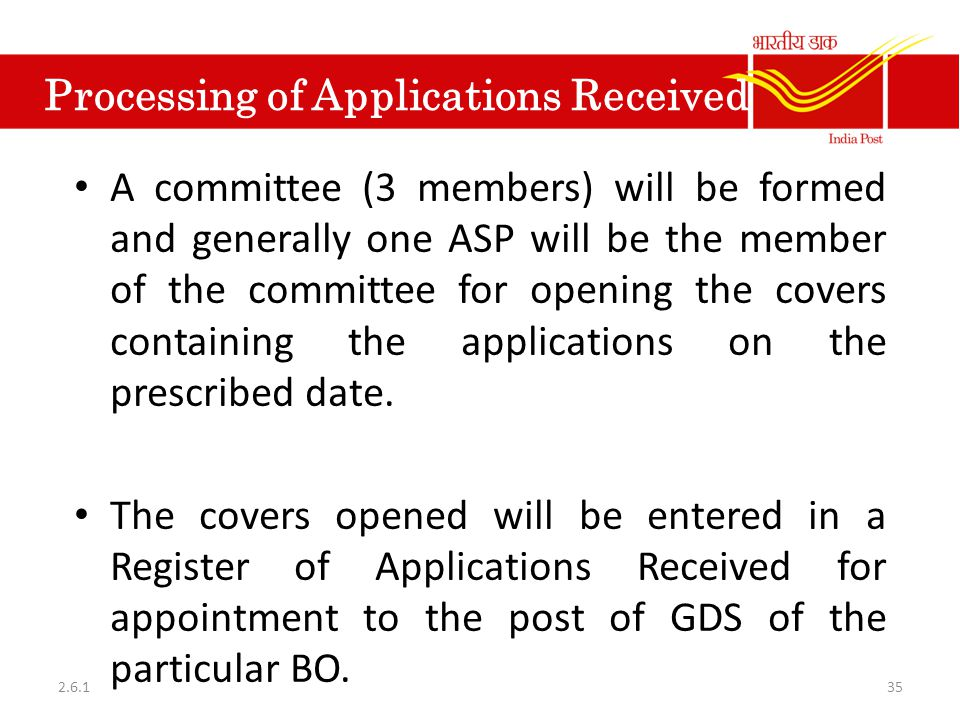 Processing of Applications Received