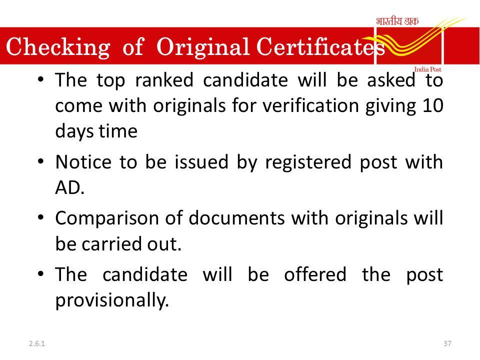 Checking of Original Certificates