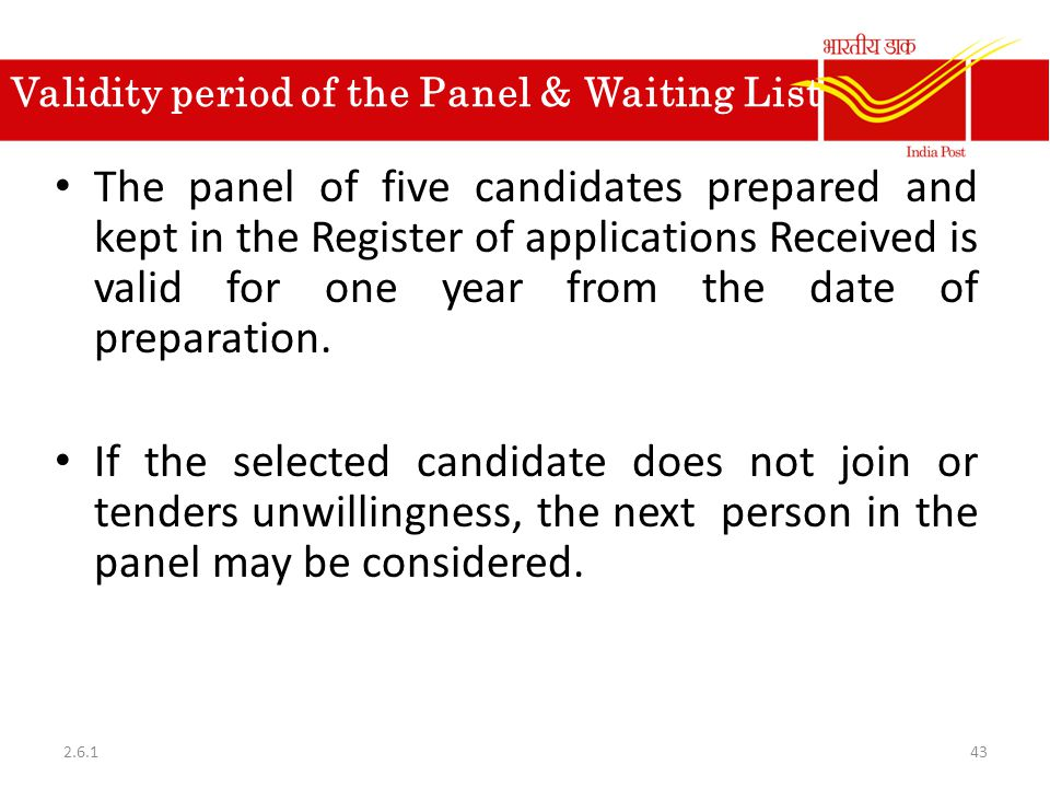 Validity period of the Panel & Waiting List