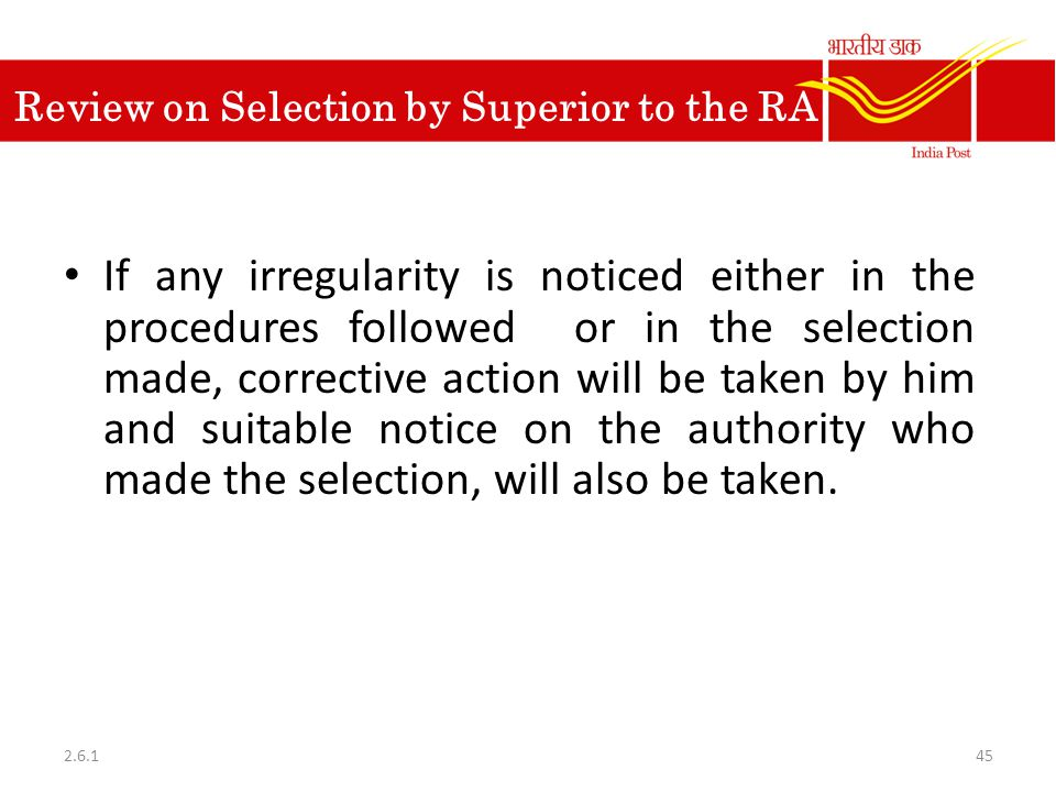 Review on Selection by Superior to the RA